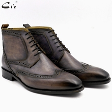 cie square brogue toe full grain genuine calf leather boot patina gray handmade lacing derby ankle boots uomo scarpe A01