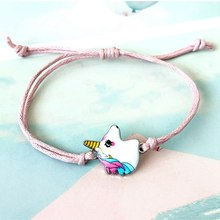 2019 Cute Women Pink Unicorn Charms Bracelets Adjustable Crystal Beads Bracelet for Child Birthday Fashion Jewelry GiftS(China)