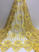 BEAUTIFICAL yellow lace fabrics wedding lace fabric for dress with guipure lace fabric retail wholesale top designs ML25N133