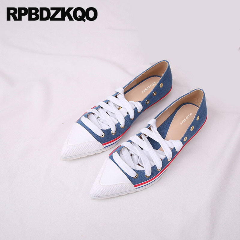 High Quality Striped Ladies Denim Shoes Jeans Women Canvas Soft Navy Blue Walking Watermelon Pointed Toe Genuine Leather Flats 750nyp p термос biostal охота 0 75л 2 пробки