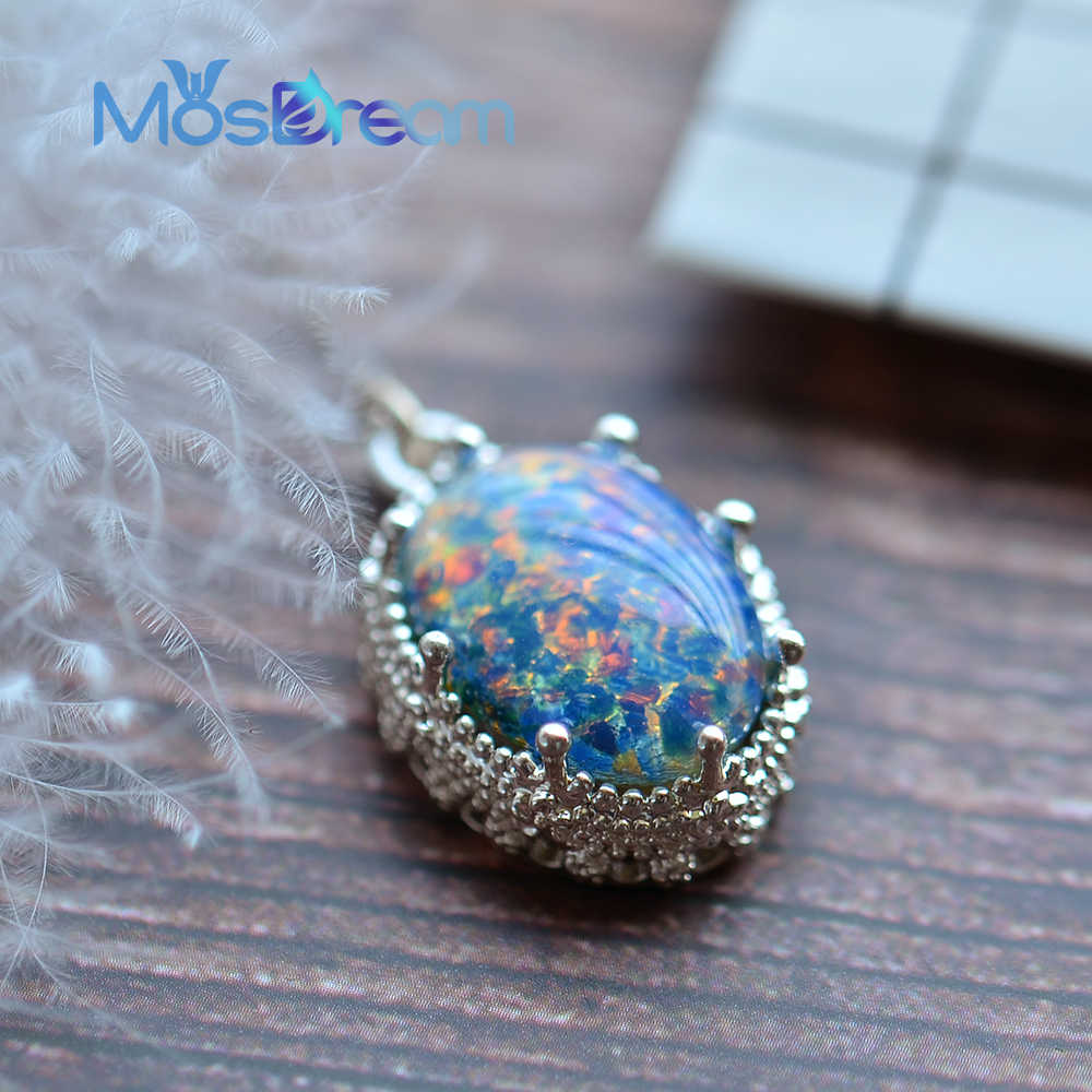 MosDream Blue Opal Oval Pendant Necklace Friendship Deep Love Anniversary Vintage Forever Jewelry for Women Elegant Sacred Gift
