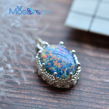 Collar de Amistad ovalado de ópalo azul MosDream, amor profundo, aniversario, joyería Vintage para siempre para mujeres, regalo sagrado elegante