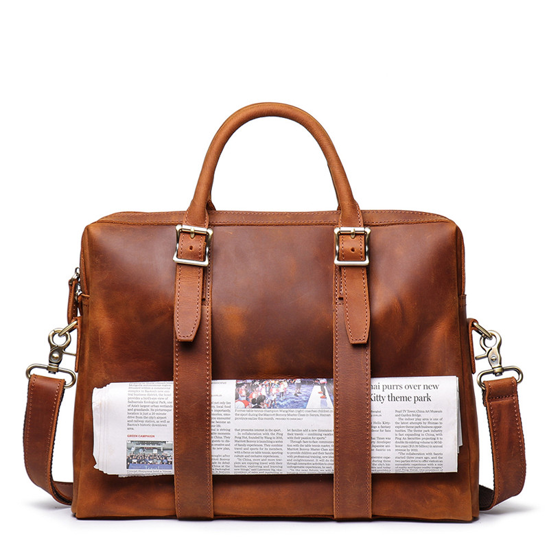 Nesitu Highend Vintage Brown Thick Genuine Crazy Horse Leather A4 14'' Laptop Office Men Briefcase Messenger Bag Portfolio M9080