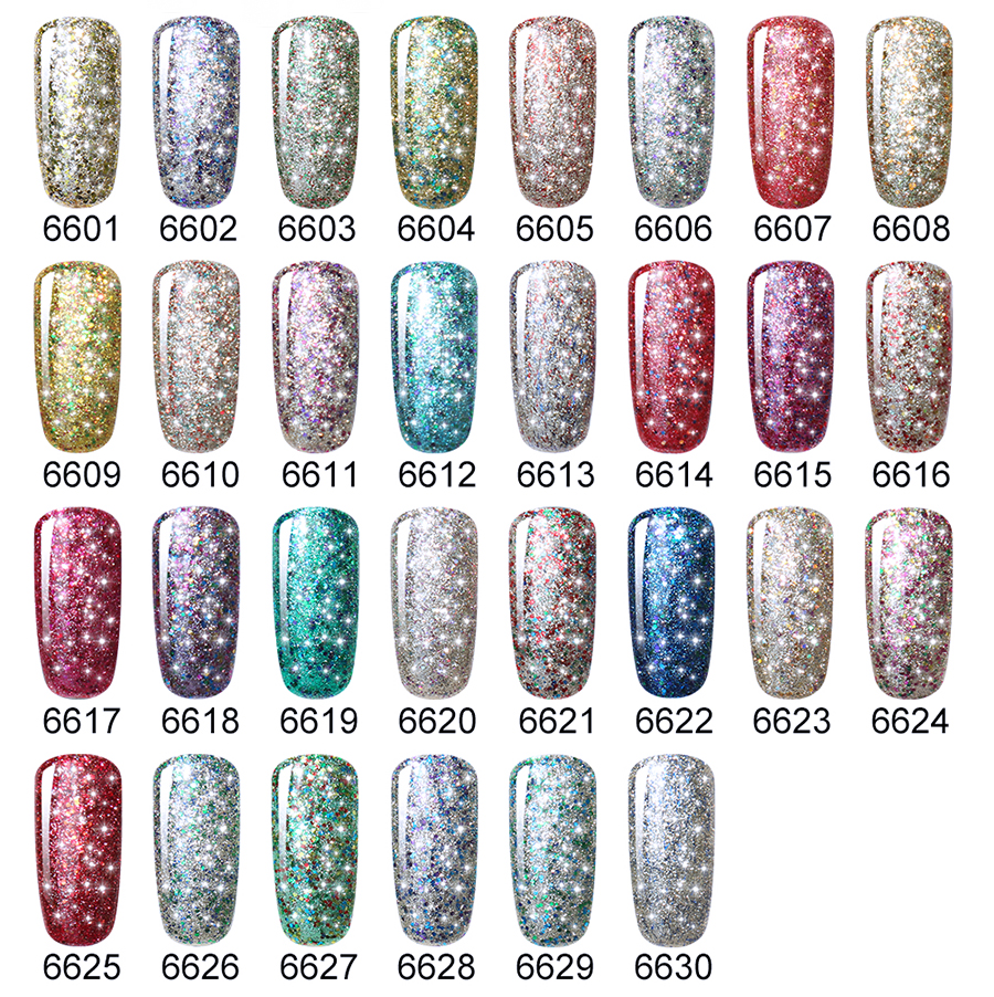 Belen 10ML Gel Glitter Nail Polish Lacquer Varnish UV Gel Nail ...