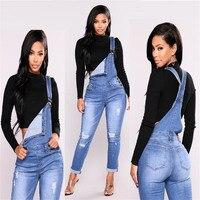 2019 Новый Модный повседневный джинсовый комбинезон с дырками из эластичного денима женские джинсы C0801