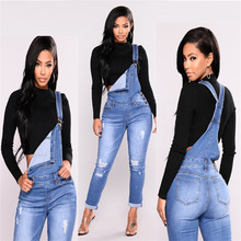 2019 new fashion casual commuter hole fashion elastic one-piece denim overalls women's