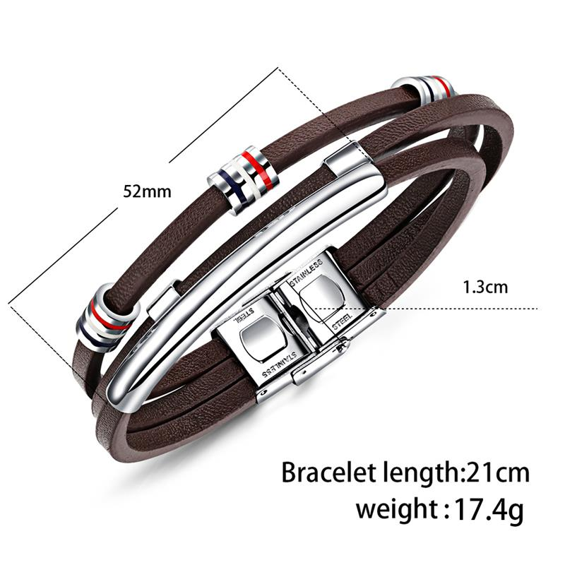Jiayiqi New Fashion Vintage Cowhide Bracelet Multi-Layered Genuine Leather Charm Rope Chain Men Stainless Steel Buckle Bangles