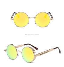 Round Frame Trend Spring Mirror Leg Reflective Colorful Ladies Retro Sunglasses