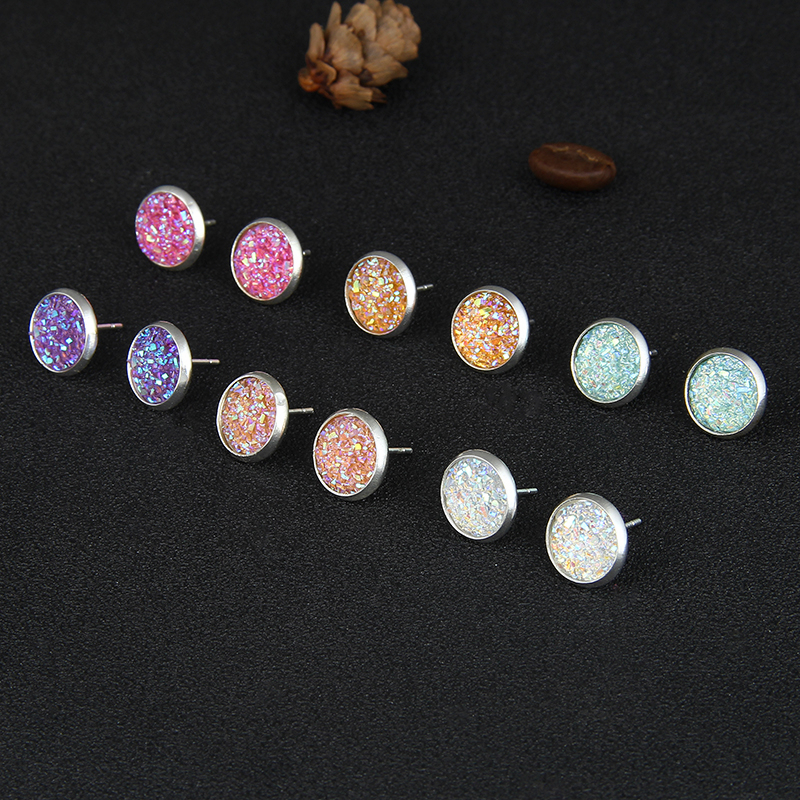 E0265 Bling Earring Sets 6 Pairs Set Mixed Color Cute Round Stud Earrings For Women Fashion Jewelry Birthday Gift Wholesale in Stud Earrings from Jewelry Accessories