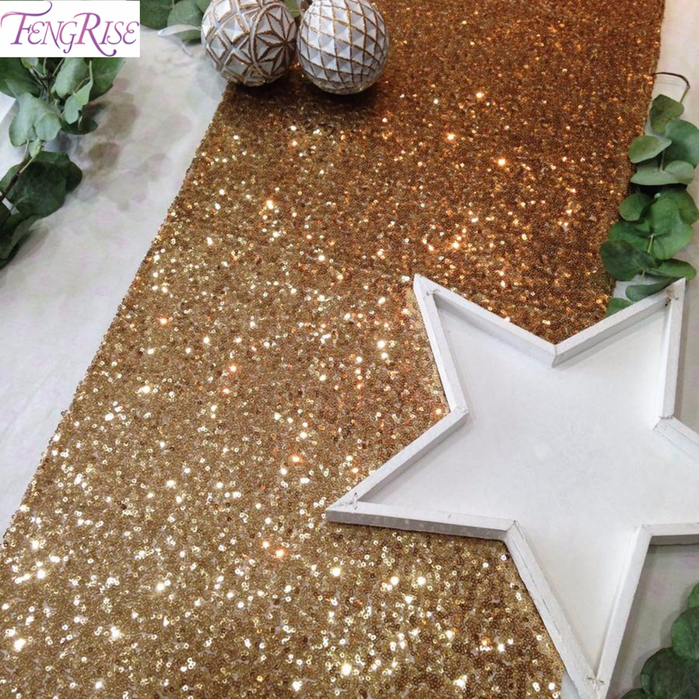 FENGRISE 30x275cm Gold Sequin Table Runner Wedding Table Decoration Silver Rose Gold Tablecloth Bachelorette Party Decoration