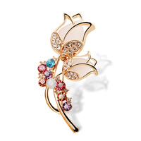 women jewelry Korean luxury Flowers Brooch pins Multicolor Natural semi precious stones Opal Crystal high quality girls Corsage