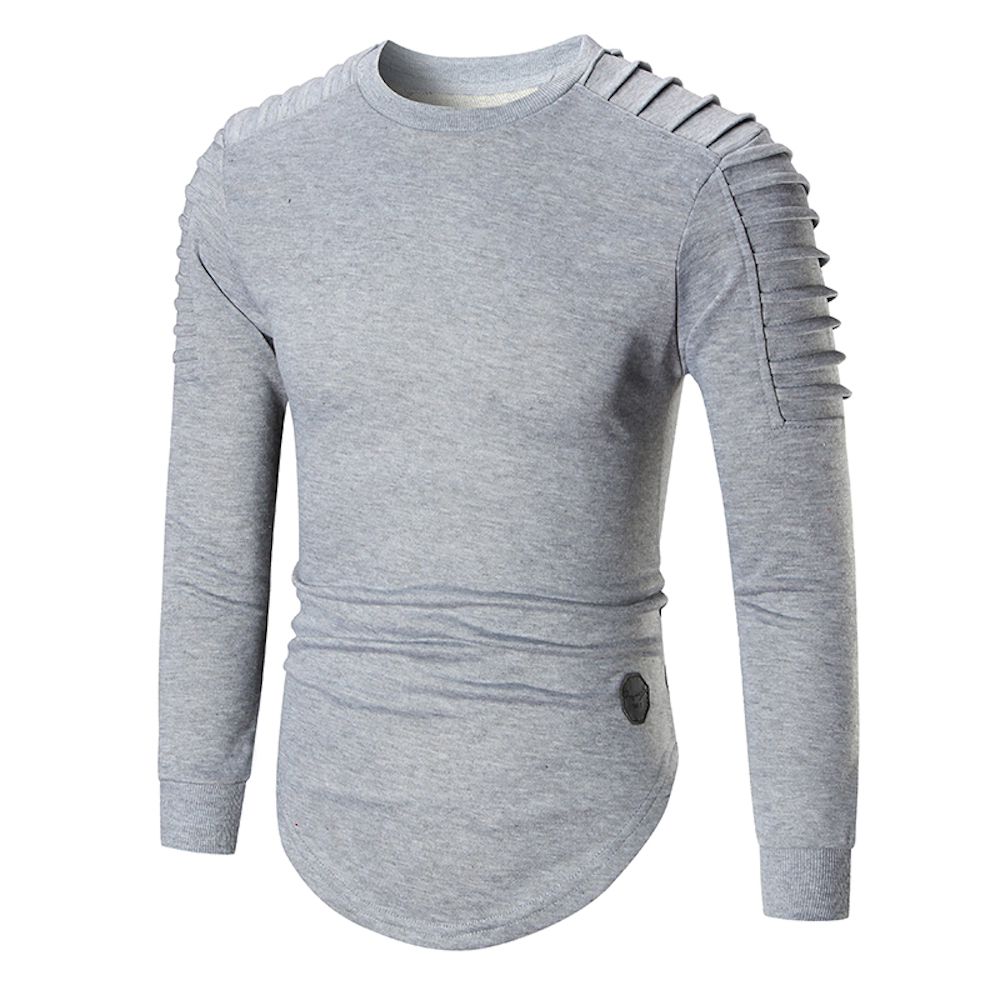 2017 Mens Fall Hipster Hip Hop Long Sleeve Slim Fit T Shirts High Street  Curve Hem Extended Tee Shirts Fashion Urban Clothing-in T-Shirts from Men s  ... 1b5a70a2c1af