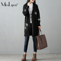 MissLymi Plus Size Wome Oversized Sweater Embroidery Cardigan 2017 Autumn Winter Casual Loose V-neck Long Sleeve Long Sweaters