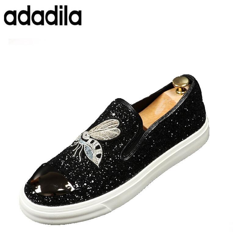 Jeunes De Abeille Mode Brodé Glitter Tendance Tendances Chaussures Rond Casual Hommes Plat Gêne Noir Bout Black NwmnvO80