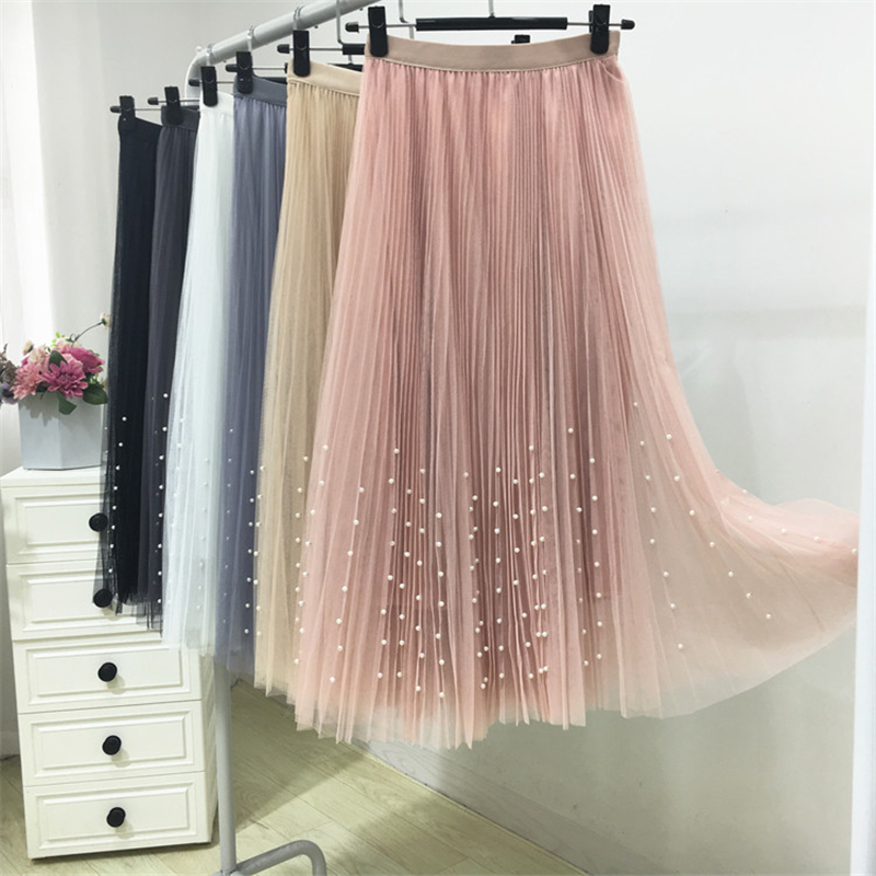HTB1ag8YPXYqK1RjSZLeq6zXppXaG - New Spring Summer Skirts Womens Beading Mesh Tulle Skirt Women Elastic High Waist A Line Mid Calf Midi Long Pleated Skirt