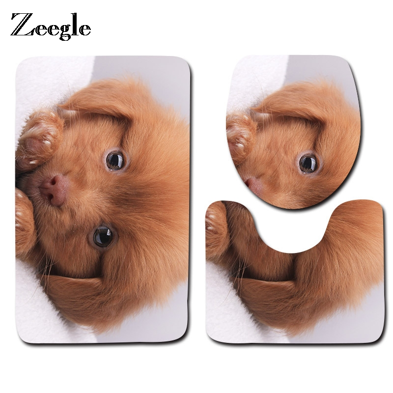 Zeegle 3pcs Cute Dog Bathroom Mat Set