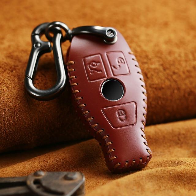 Keyyou couro genuíno saco chave do carro caso capa chave titular corrente para mercedes benz acessórios w203 w210 w211 w124 w202 w204 amg