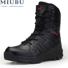 MIUBU Winter Men Military Boots Quality Special Force Tactical Desert Combat Ankle Boats Army Work Shoes Keep Warm Snow Boots winter autumn men military boots quality special force tactical desert combat ankle boats army work shoes leather snow boots