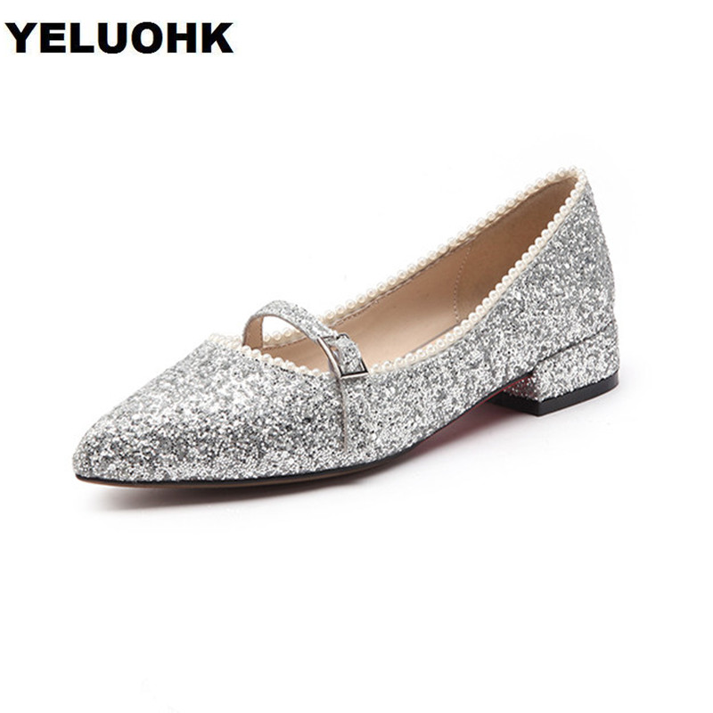 Pointed Toe Bling Silver Women Flat Shoes Sweet Slip On Ladies Shoes New 2018 Ballet Spring Ladies Shoes Pearl sorbern nude flat heel pointed toe women shoes rivets slip on spring shoes for women 2017 women flat shoes custom soulier femme
