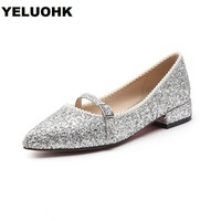 Pointed Toe Bling Silver Women Flat Shoes Sweet Slip On Ladies Shoes New 2018 Ballet Spring