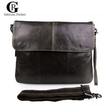 [Goblins Pocket] Vintage England Style Briefcase For IPAD Men's Bags Genuine leather Cowhide Messenger Bag / Shoulder Bags