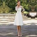 2015 элегантный белое кружево свадебные платья гольфы 3/4 рукав свадебные платья на короткие свадебные платья Vestido де Noiva Corto