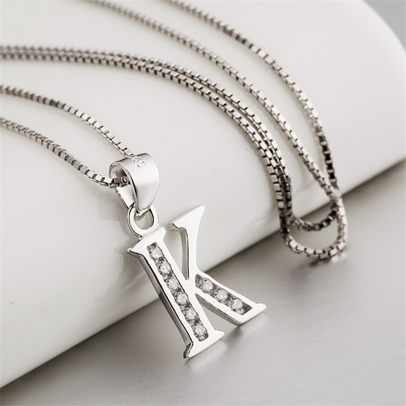 Genuine 925 Sterling Silver Necklace Women Initial Pendant Crystal Letter K  Necklaces Pendants Inlaid with CZ