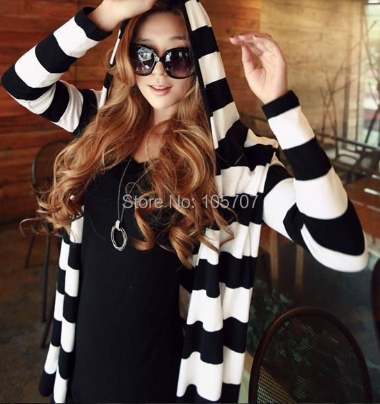 2014 Spring-Autumn Brand New Fashion Designer Korean Casual Cotton Loose Striped Women Long Cardigans  -  fashion2012's store store