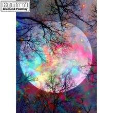 Алмазная картина полностью квадратная/круглая дрель луна стразы