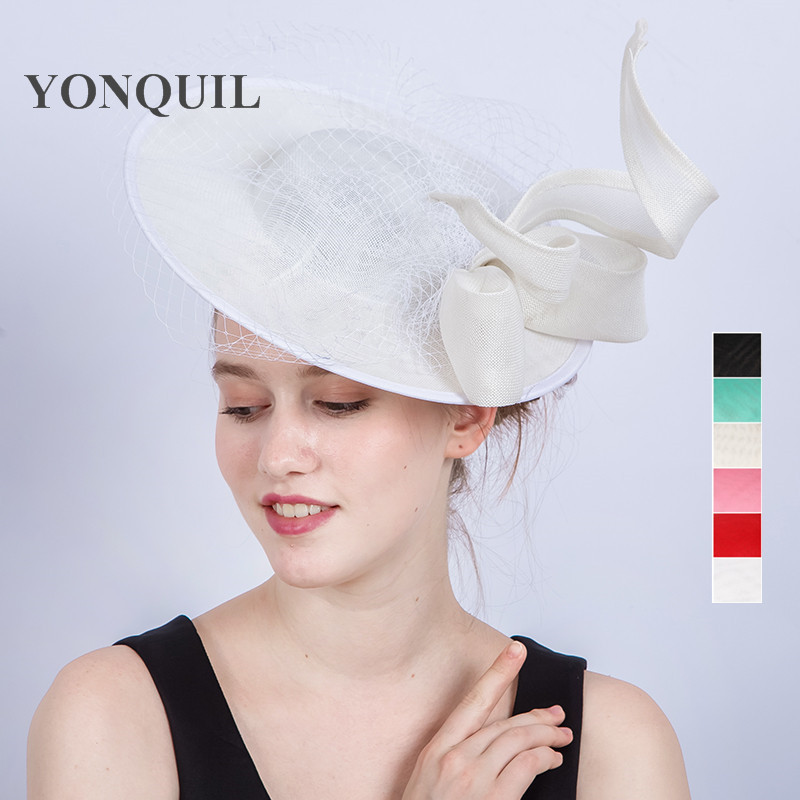 Women imitation Sinamay Fascinator Hats white bowknot Kentucky Derby Wedding Cocktail Church Sinamay Hairclips gril red Headwear new arrival 30cm red millinery black imitation sinamay fascinator base with lace party diy hair accessories cocktail headpieces