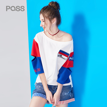 Pass summer shirt woman fashion hollow out t shirt letter print woman tops red blue color.jpg 350x350