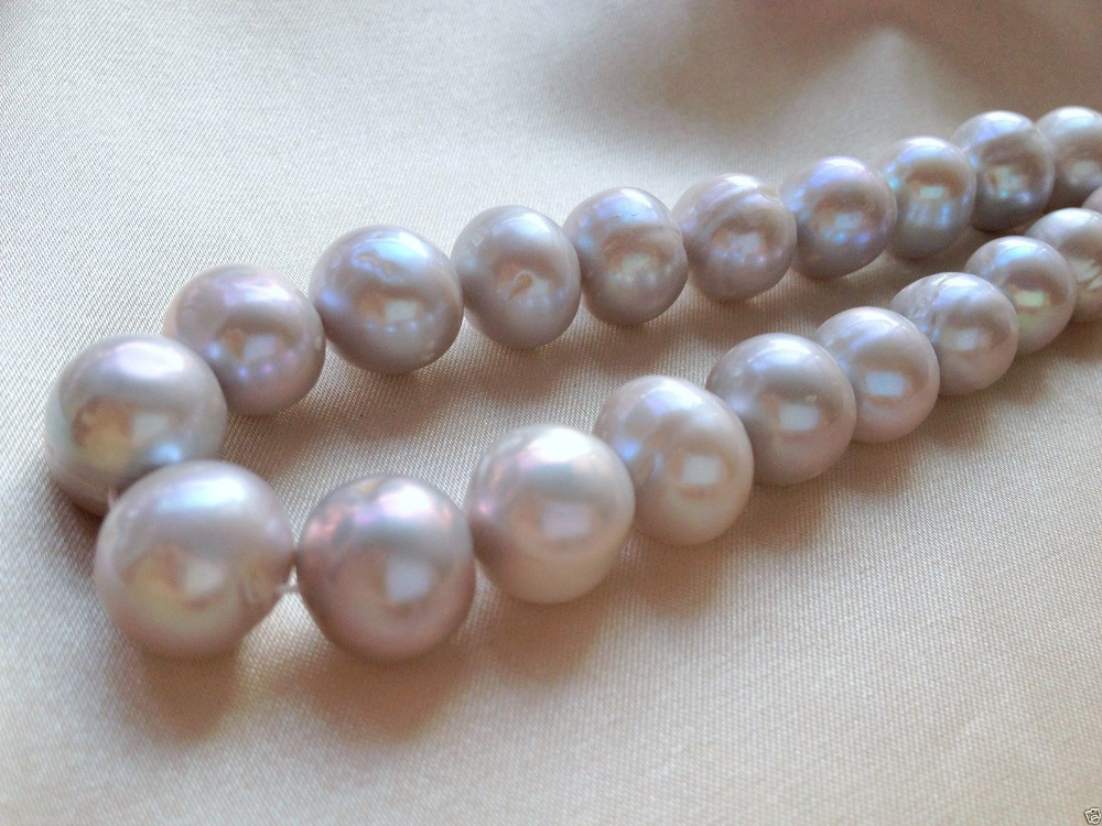 xiuli 000368 12 14mm Silver Gray(Grey) Off Round Cultured Freshwater Pearls Loose Beads - 2