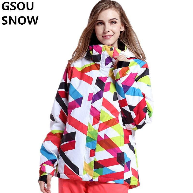 Prix pour Gsou Neige D'hiver Thermique Ski Veste Femmes Snowboard Vestes Imperméable Respirant Ski Snowboard Veste Femelle Vêtements de Plein Air