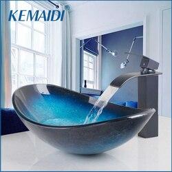 صنبور شلال من KEMAIDI حنفية سوداء + حوض مغسلة حمام من الزجاج المقسى مرسومة باليد بزيت مفرك حنفية بلمسة نهائية من البرونز