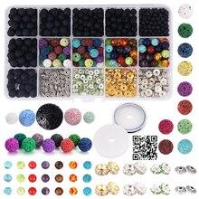 Lava Bead Bracelet Kit Bulk Black Rock Stone Essential Oil Beads DIY Jewelry Making Storage Box Crystal String