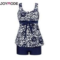 JOYMODE 2018 Summer Floral Print One Piece Swimsuit Women Retro Beachwear Vintage Floral Siamese Swimsuit Chinese Blue Style C