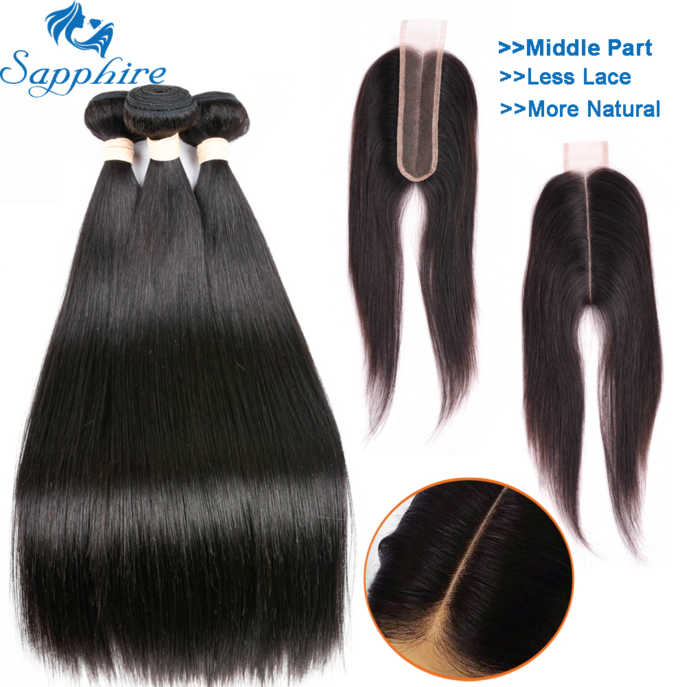 Sapphire Straight Hair Extensions Brazilian Hair Weave Bundles With Closure 2*6 Lace Closure With Human Hair Bundles Middle Part