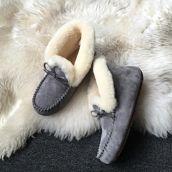 100% Genuine Leather waterproof women flat shoes comfortable winter warm natural fur snow shoes fashion non-slip women shoes