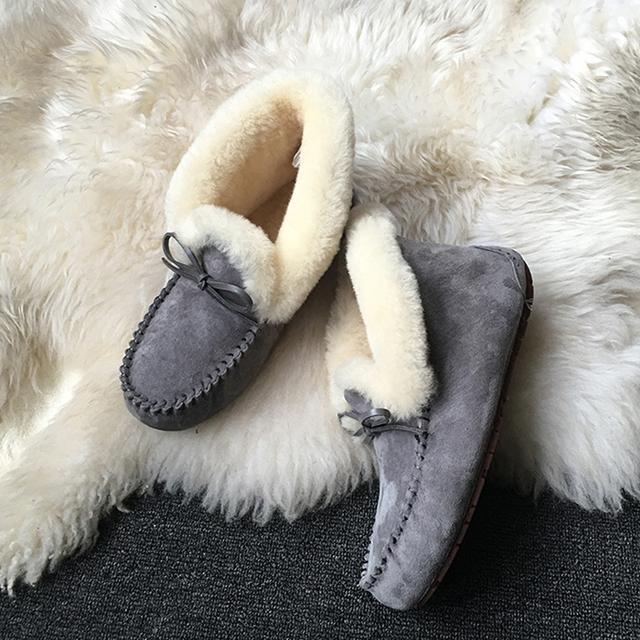 Genuine Leather waterproof natural fur booties