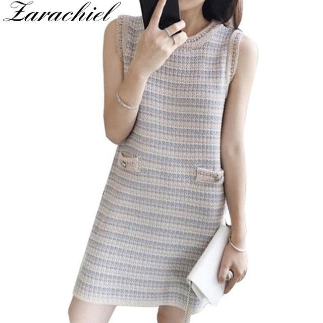 2decfe4fc1f Small Fragrant Elegant Knitting Dress New Fashion Summer Sleeveless O Neck  Striped Tank Dress Ladies Vintage Short Mini Dress