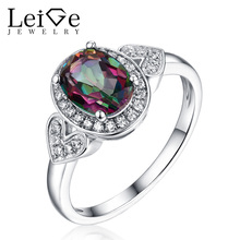 Leige Jewelry 925 Sterling Silver Wedding Anniversary Rings for Women Mystic Topaz Ring Oval Cut  Fine Jewelry Rainbow Fire