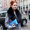 luxury black fur fox collar 100cm real fox scarfs unisex Bib soft women genuine fur collars custom