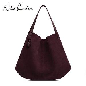 Image 1 - Новинка, женская сумка из натуральной замши и спилка, дизайнерские женские вместительные сумки на плечо, однотонная Повседневная дорожная сумка