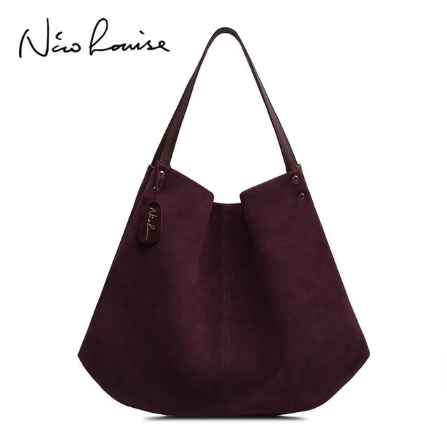 Новинка, женская сумка из натуральной замши и спилка, дизайнерские женские вместительные сумки на плечо, однотонная Повседневная дорожная сумка