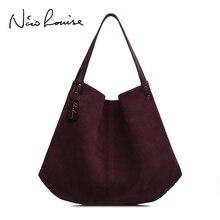 Nowych kobiet prawdziwa Split zamszowa torba typu hobo projektant kobiet rozrywka duże torby na ramię jednolity kolor podróży torebka na co dzień