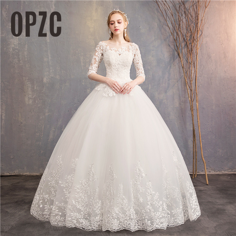 Buteaful Elegance Half Sleeve Luxury Lace Illusion Wedding Dress 2019 Vestidos de novia Sweetheart 100cm Train