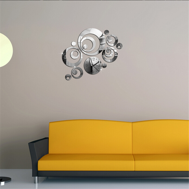 Acrylic Clock Design Mirror Effect Mural Wall Sticker Home Decor Craft decorativos vinilos paredes home decor poster wall decals
