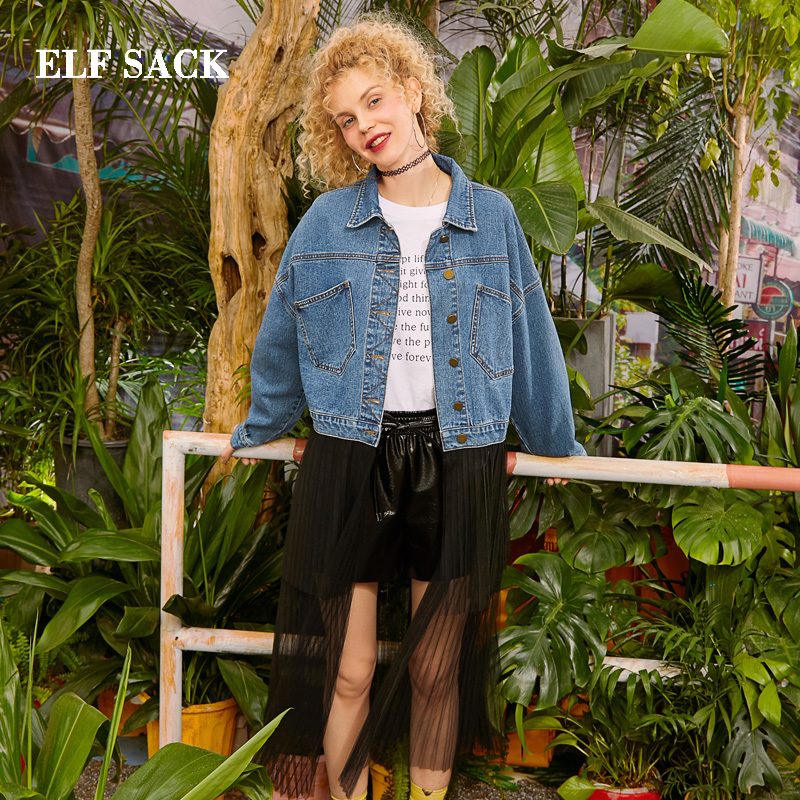 ELF SACK 2019 Oversized Jackets Woman Solid Full Turn down Collar Outerwear Femme Coats Chiffon Patchwork