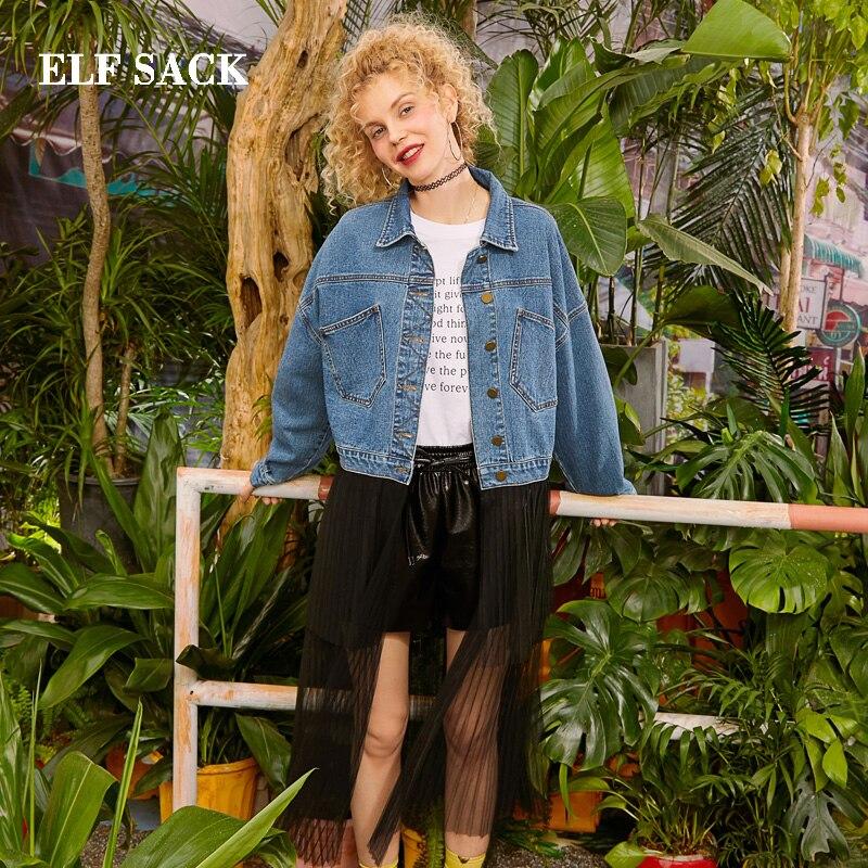 Kadın Giyim'ten Basic Ceketler'de ELF ÇUVAL 2019 Büyük Boy Ceketler Kadın Katı Tam turn aşağı Yaka Giyim Femme Kat Şifon Patchwork Kadın Denim Mont'da  Grup 1