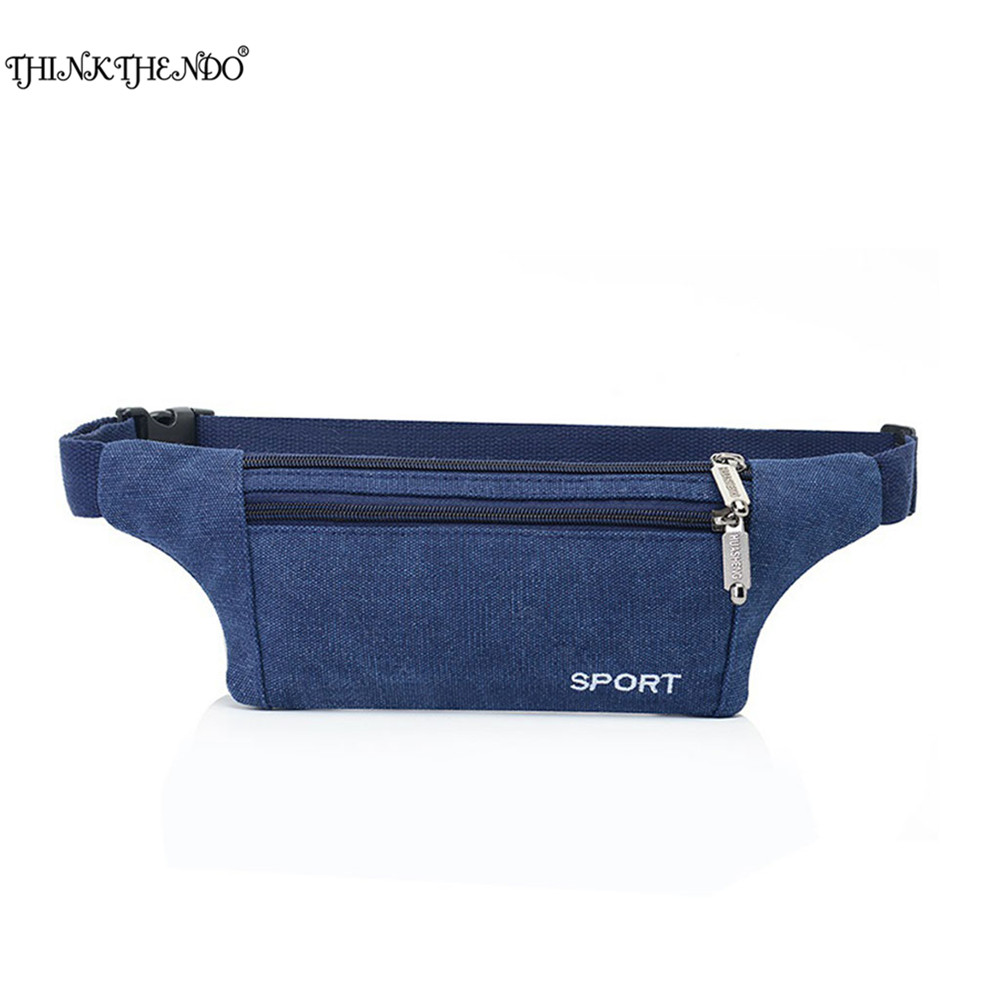 THINKTHEND 1PC Fashion Men Women Canvas Waist Pack Bag Pouch Belt Travel Hip Zipper Pocket Adjustable Strap